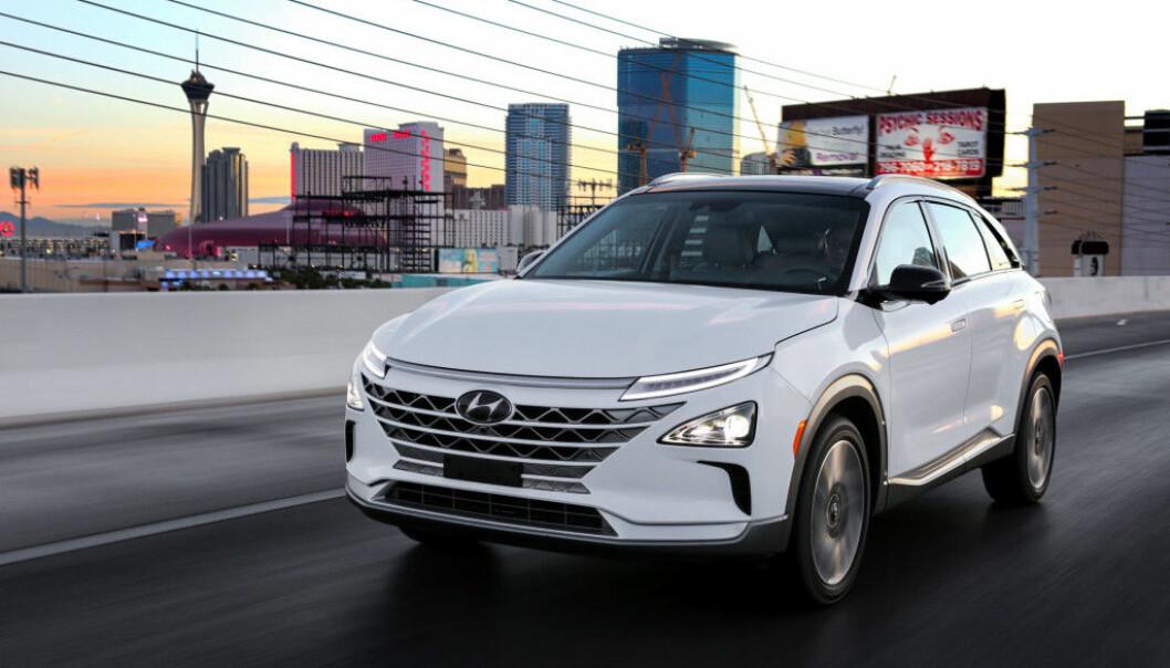 <strong>HØY SCORE:</strong> Hyundai Nexo fikk full pott i test av sikkerhetssystemer. Foto: Hyundai