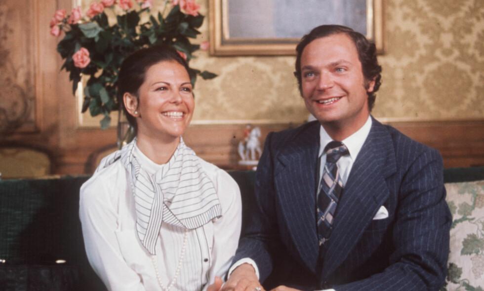 HEMMELIG FORHOLD: Svenske dronning Silvia og kong Carl Gustaf holdt forholdet «skjult» i mange år, før de forlovet seg i 1976. Foto: NTB Scanpix