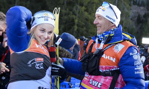 STIKK: Stina Nilsson og Ole Morten Iversen hadde et godt samarbeid i svensk langrenn, men nå sier Nilsson at det var deler av Iversens metoder som hun ikke var helt fornøyd med. Foto: Bildbyrån