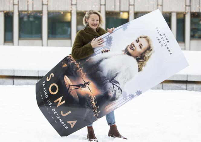 HOVEDROLLE: Ine Marie Wilmann portretterer skøyteikonet Sonja Henie i den nye, norske storfilmen «Sonja». Her fra presselansering i desember. FOTO: Ole Berg-Rusten / NTB Scanpix