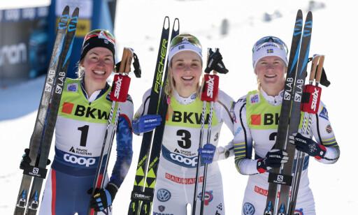 DOMINERER: Svensk kvinnelangrenn herjer i sprint. Stina Nilsson vant foran Maja Dahlquist og Sophie Caldweel på sprinten i Davos i helga. Foto: Bildbyrån