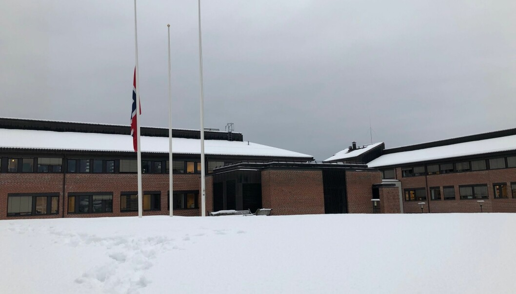 <strong>HALV STANG:</strong> Universitetet i Sørøst-Norge campus Bø flagger i dag på halv stang. Foto: USN