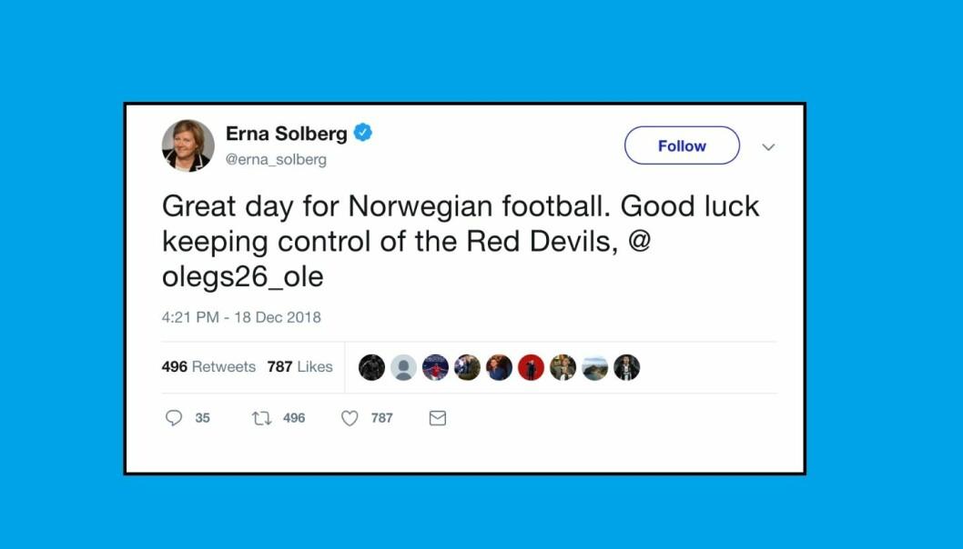 <strong>GRATULERTE:</strong> Erna Solberg gratulerte Ole Gunnar Solskjær med manager-jobben i United. Men så måtte hun slette Twitter-gratulasjonen. Skjermdump: Twitter