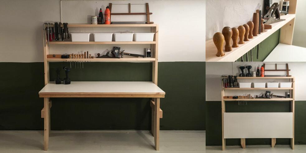 Arbeidsbenk: Praktiske hyller med plass til verktøy, og et arbeidsbord som kan slås sammen. Foto: Øivind Lie-Jacobsen