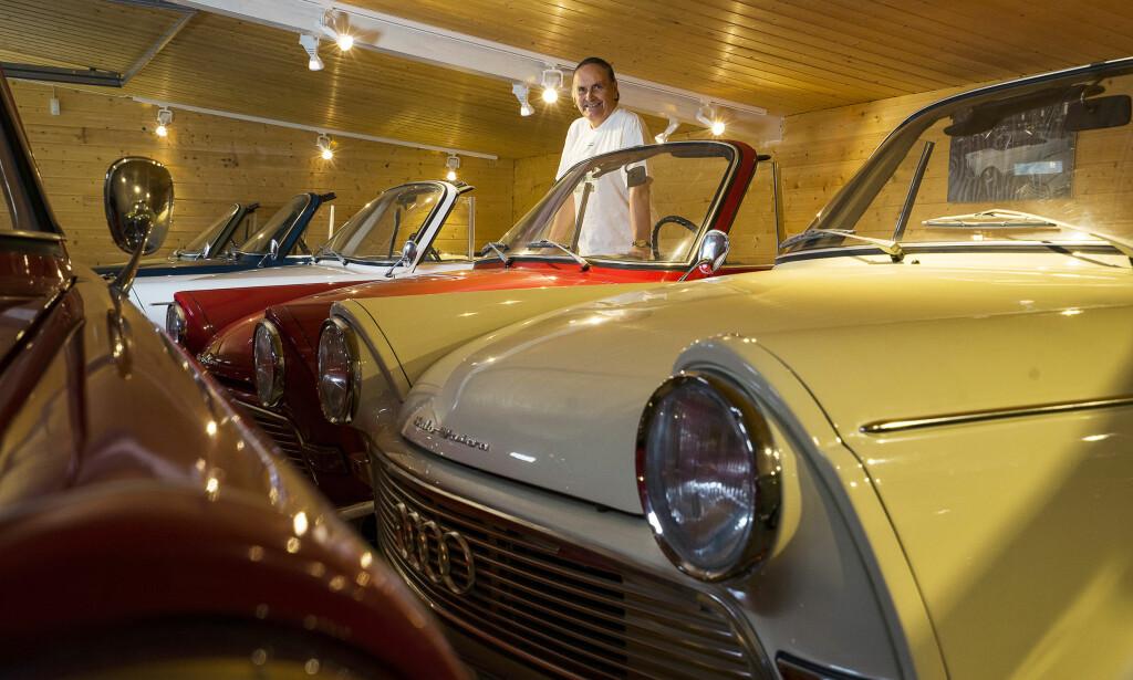 DEN ENESTE ENE: Kun én F12 roadster ble solgt ny i Norge. Den hvite bilen står i Kalseths garasje. - I dag har jeg 20 DKWer. 12-13 av dem er på skilter, sier tannlege Sverre Kalseth (73). Foto Paal Kvamme