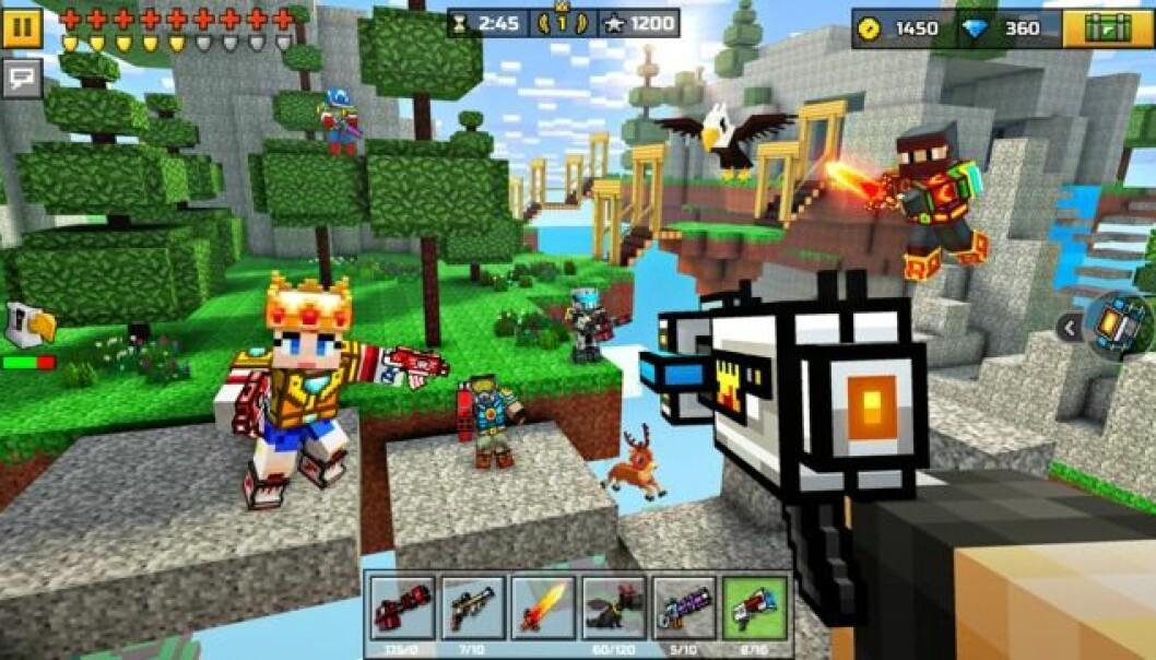 MOBBING SKJER OGSÅ I SPILL: Mange spill har en chatfunksjon som har blitt brukt til å mobbe og hetse andre spillere. Eksempler på slike spill er Fortnite og Pixel Gun. FOTO: App Store