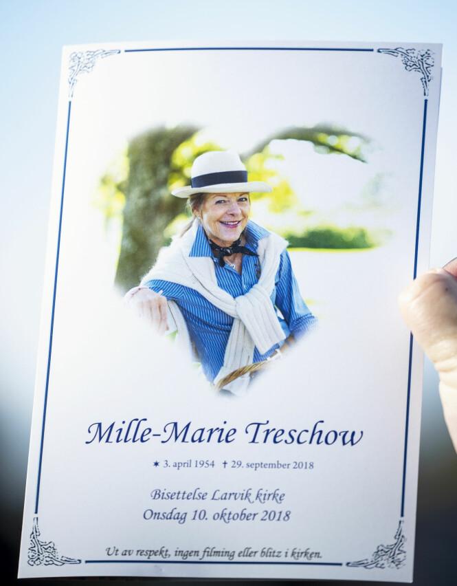 <strong>BISATT:</strong> Mille-Marie Treschow ble bisatt fra Larvik kirke 10. oktober. Foto: Andreas Fadum / Se og Hør