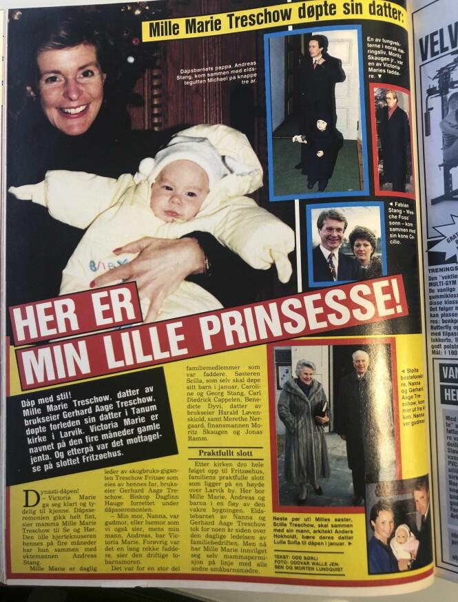 <strong>STOLT MOR:</strong> I barnedåpen for 29 år siden viste Mille-Marie frem sin nyfødte datter. Foto: Faksimile / Se og Hør