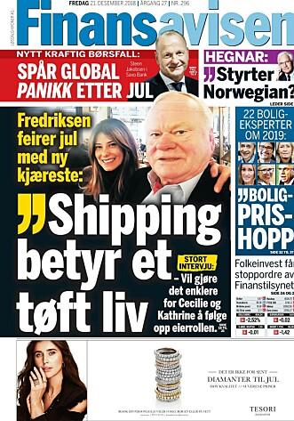 LYKKELIG: John Fredriksen har funnet kjærligheten med 47 år gamle Maryam Mohaghegh, som han lot seg fotografere sammen med på den tradisjonelle julelunsjen. Faksimile: Finansavisen