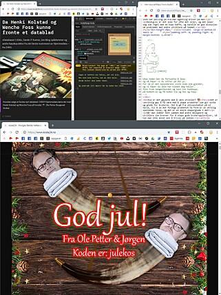 På julaften tok vi den helt ut, med flere steg og en hemmelig kode man kan taste inn direkte på kode24.no-forsida.