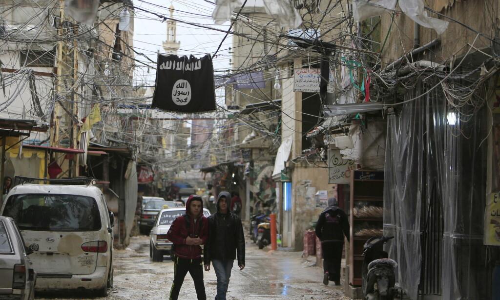 IS-FLAGGET VAIER: Dette bildet ble tatt i flyktningleiren Ein el-Hilweh i januar 2016. Foto: Ali Hashisho/Reuters/NTB Scanpix