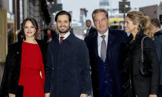 FEIRET DRONNINGEN: Både prinsesse Sofia, prins Carl Philip, Chri O'Neill og prinsesse Madeleine var til stede for å feire dronning Silvia denne uken. Foto: NTB Scanpix