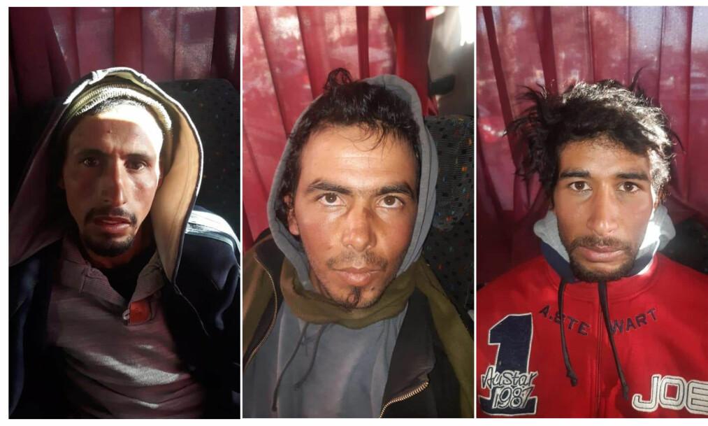 HOVEDMENN: De tre gateselgerne Rachid Afati (t.h), Ouziad Younes og bøddelen Abdessamad El Joud (t.v) er siktet for drapene på norske Maren Ueland og danske Louisa Vesterager Jespersen. I tillegg er 21 andre siktet i terrorsaken. Her er de tre avbildet da de ble pågrepet på en buss på vei fra Marrakech. Foto: Marokkansk politi / AFP / Scanpix