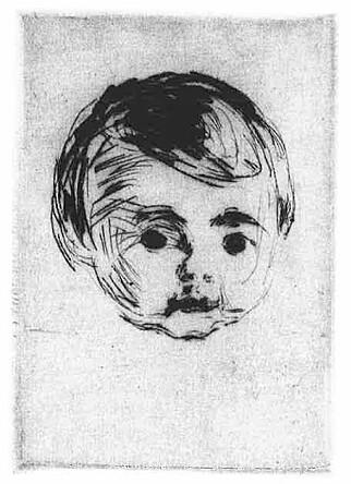 SAVNET: Edvard Munch laget bildet «Åge Christian Gierløff» i 1916. Nå er det savnet. Bildet har reistreringsnummer RES.B.38. Foto: Munchmuseet