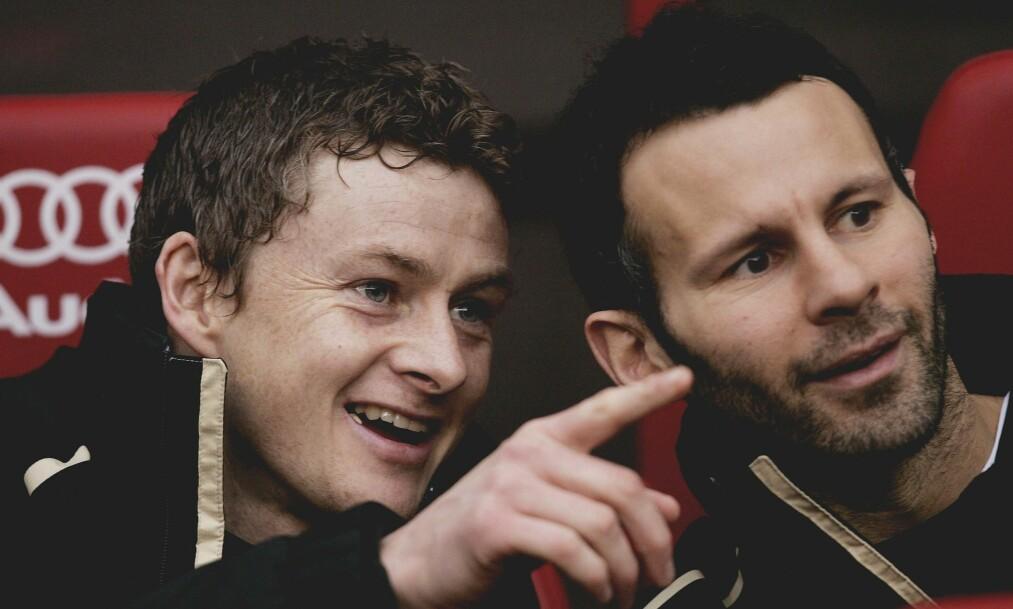 <strong>TIDLIGERE LAGKOMPISER:</strong> I alle åra Solskjær spilte for United, var Ryan Giggs en av hans lagkamerater. Nå får nordmannen støtte av United-legenden. Foto: Action Images / Alex Morton Livepic / NTB Scanpix
