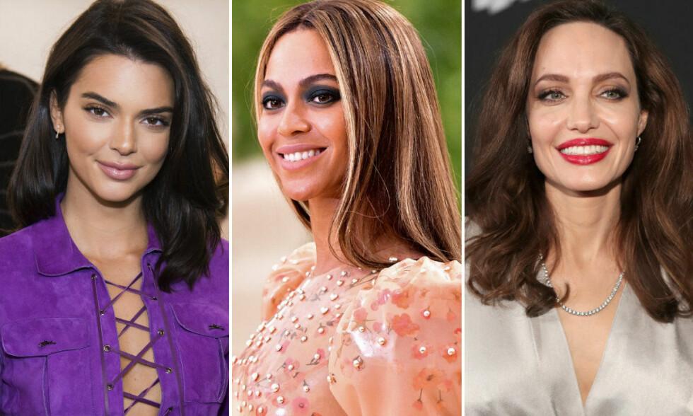 SKJULT TALENT: Kendall Jenner, Beyoncé, og Angelina Jolie er ikke bare gode innenfor feltet de har valgt som karriere (respektivt modell, artist og skuespiller). FOTO: NTB Scanpix