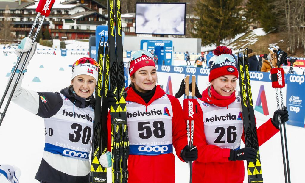 PLUTSELIG BEST: Selv Ingvild Flugstad Østberg i toppform ble litt for sein mot Natalia Neprjajeva på 10km i Tour de Ski. Og på de siste kilometerne var ingen i nærheten av farten til Anastasia Sedova. Russiske skijenter er på topp igjen etter tiår med dopingskandaler. Det øker kravet til en troverdig russisk dopingkontroll. FOTO: Terje Pedersen / NTB scanpix