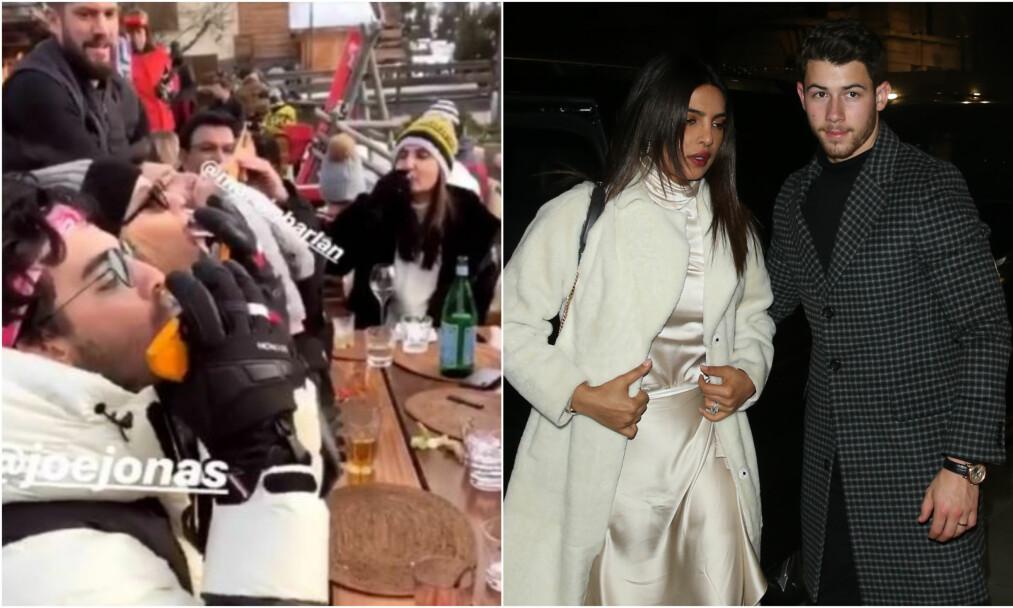 <strong>FULL FEST:</strong> Ekteparet Nick Jonas og Priyanka Chopra nyter de siste dagene av 2018 med resten av familiem i Verbier i Sveits. Foto: Instagram, NTB Scanpix