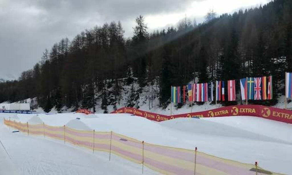 SLIK SER DET UT: Løypa minner mer om skicross enn langrenn i Sveits. Foto: Ludvig Holmberg/Expressen