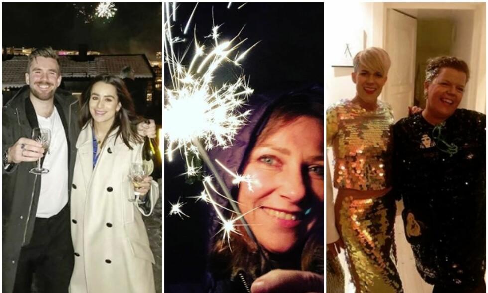 NYTTÅRSFEIRING: Det nye året ble feiret med brask og bram. I sosiale medier har flere av landets kjendiser delt bilder fra kvelden. Foto: Instagram / Privat