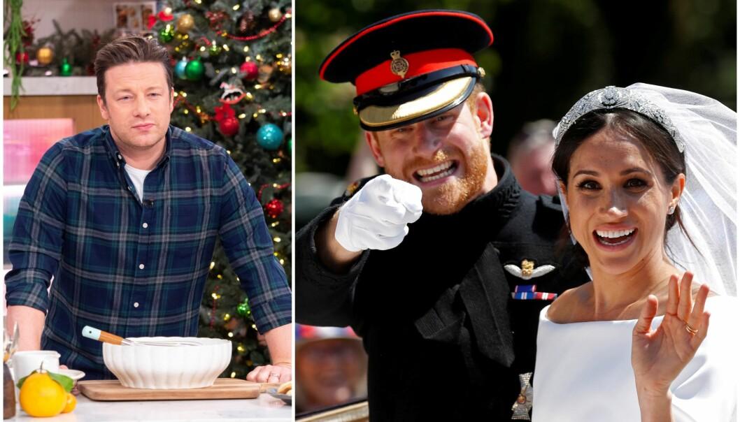 <strong>VILLE LAGE MATEN:</strong> Stjernekokken Jamie Oliver skal ha kontaktet den britiske kongefamilien i forkant av bryllupet til prins Harry og hertuginne Meghan. Responsen ble ikke helt som ønsket. Foto: NTB Scanpix
