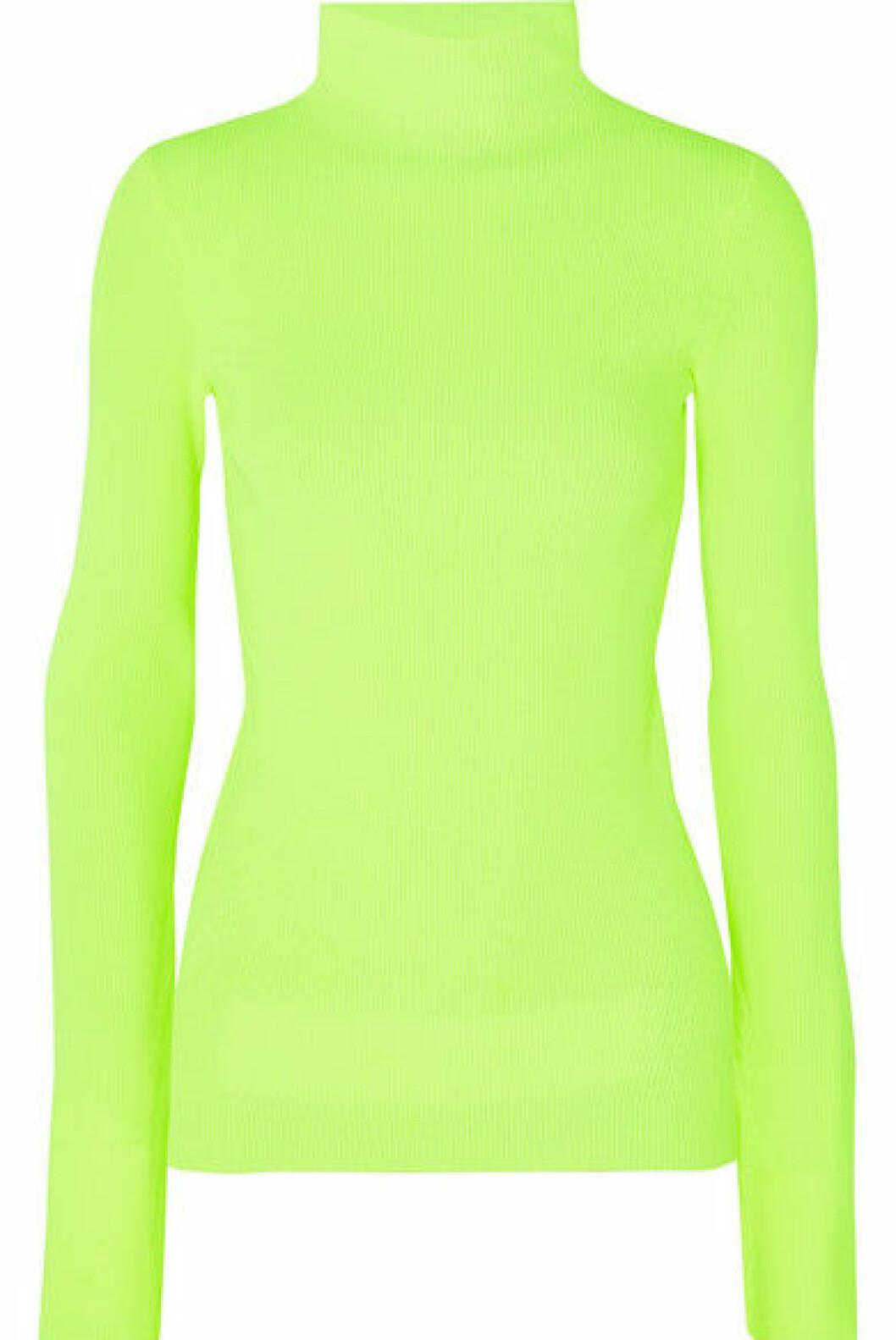 Genser fra Helmut Lang |3398,-| https://www.net-a-porter.com/no/en/product/1102413/Helmut_Lang/neon-ribbed-cotton-turtleneck-sweater