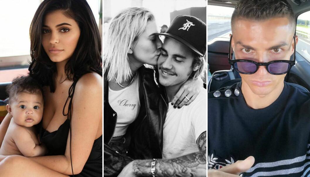 <strong>POPULÆRE PÅ INSTAGRAM:</strong> Både (f. v.) Kylie Jenner, Justin Bieber og Cristiano Ronaldo genererte enormt engasjement på bildedelingstjenesten i året som gikk. FOTO: Instagram