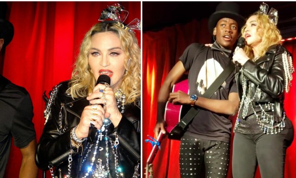 SPEKULASJONER: Etter at popdronningen Madonna dukket opp på en bar i New York har fansen spekulert vilt i om hun har lagt seg under kniven. Her avbildet under opptredenen sammen med sønnen David. Foto: NTB scanpix