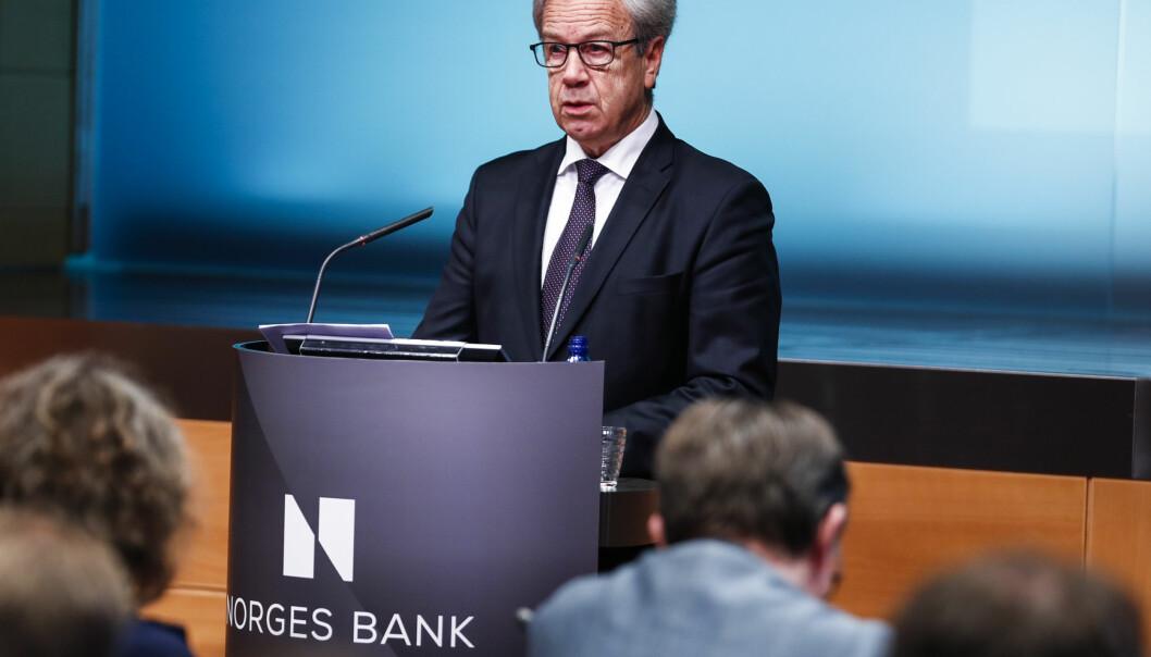 <strong>MØTE I MARS:</strong> Norges Bank økte renten i september og mars. På bildet ser du sentralbanksjef Øystein Olsen under rentebeslutningen i desember 2018, hvor renten forble uendret. Foto: Heiko Junge/NTB Scanpix.