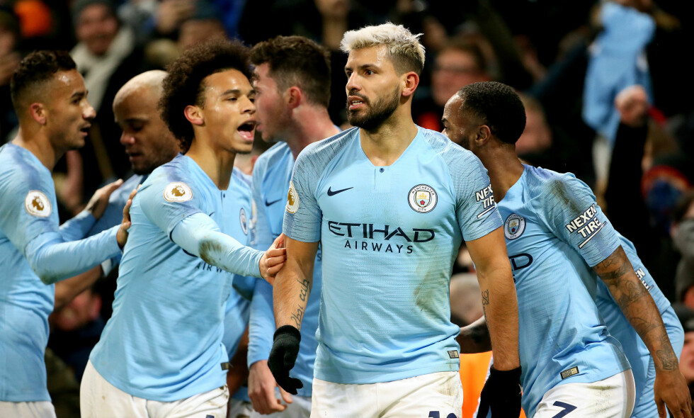 SEIER: Sergio Agüero og Leroy Sane scoret Manchester Citys to mål. Foto: Richard Sellers / Pa Photos