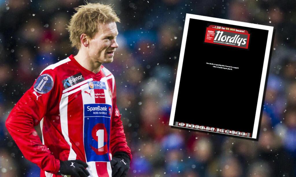 MØRK DAG: Slik så forsiden til Nordlys ut dagen etter sjokktapet i cupfinalen. Foto: NTB Scanpix / faksimile Nordlys
