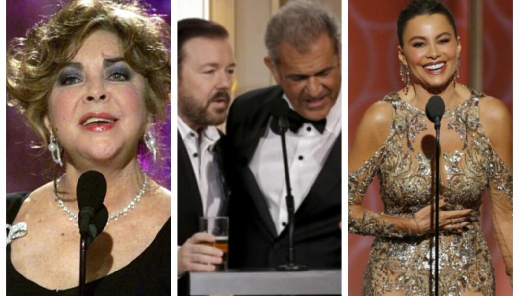 <strong>SKANDALESHOW:</strong> Golden Globe er kjent for flere minneverdige øyeblikk. Elizabeth Taylor, Ricky Gervais, Mel Gibson og Sofia Vergara står for noen av dem. Foto: NTB Scanpix