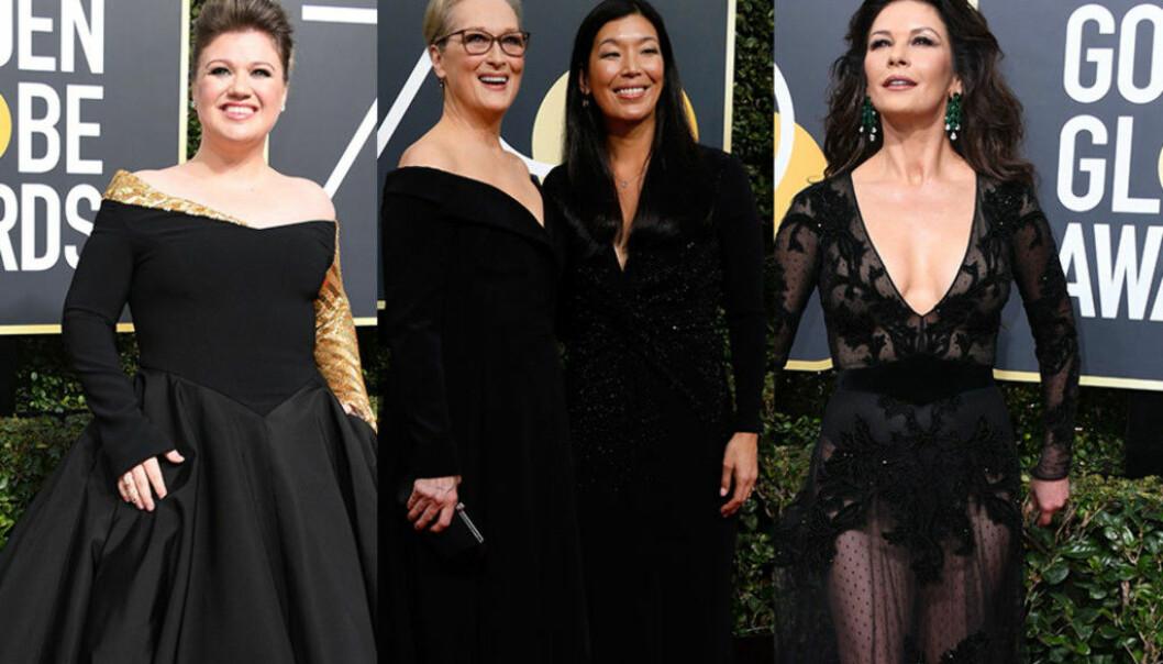 <strong>I SVART:</strong> Flere stjerner hadde valgt å kaste seg på «Time's Up»- og #MeToo-kampanjen, ved å dukke opp til fjorårets Golden Globe-utdeling i sorte klær. Foto: NTB Scanpix