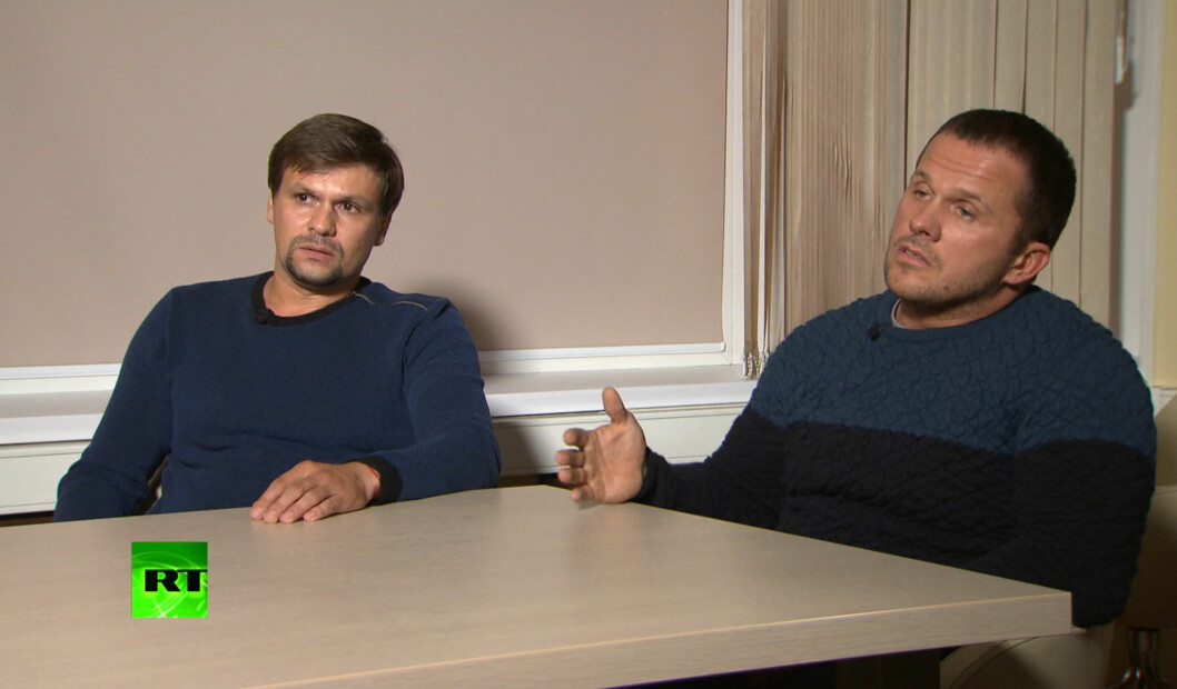FILE - In this Thursday, Sept. 13, 2018 video grab file image provided by the RT channel, men identified as Ruslan Boshirov, left, and Alexander Petrov attend their first public appearance in an interview with the RT channel in Moscow, Russia. Investigative group Bellingcat reported Monday Oct. 8, 2018 on its website that the man British authorities identified as Alexander Petrov is actually Alexander Mishkin, a doctor working for the Russian military intelligence unit known as GRU. The other suspect in the March nerve agent attack on Sergei Skripal and his daughter in Salisbury, England, — Ruslan Boshirov. — is a decorated Russian agent named Anatoliy Chepiga, Bellingcat reported last month. (RT channel video via AP, File)