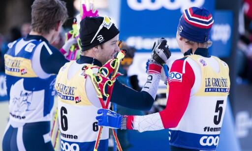 ROS: Sjur Røthe var raskest på den siste etappen og etterpå var han full av lovord om romkameraten som vant hele Tour de Ski. Foto: Terje Pedersen / NTB scanpix