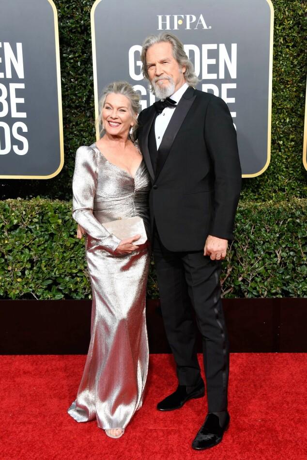 EKTEFELLER: Susan Geston og Jeff Bridges kom sammen til årets Golden Globe. Foto: NTB Scanpix