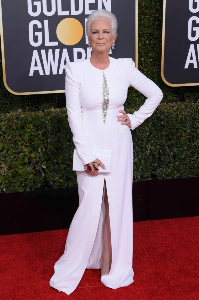 PRISVINNER: Jamie Lee Curtis dro heller ikke hjem tomhendt fra årets Golden Globe. Foto: NTB Scanpix