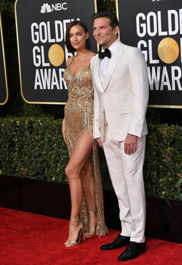 STJERNEPAR: Irina Shayk og Bradley Cooper kom hånd i hånd på den røde løperen. Foto: NTB Scanpix