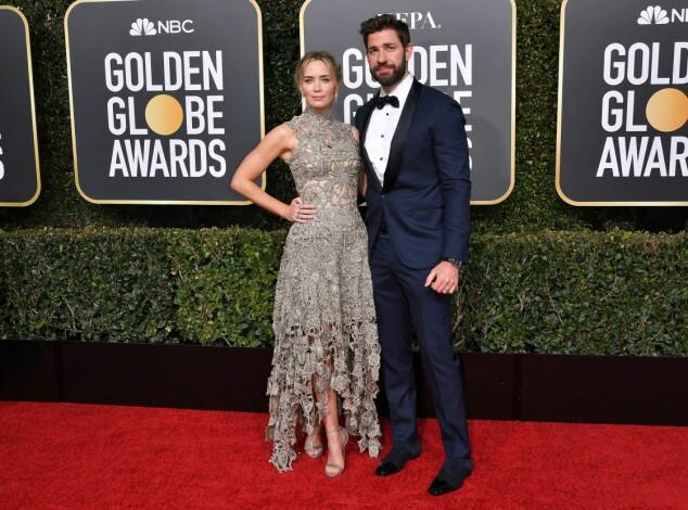 KOM SAMMEN: Emily Blunt og John Krasinski kom sammen under årets Golden Globe. Foto: NTB Scanpix