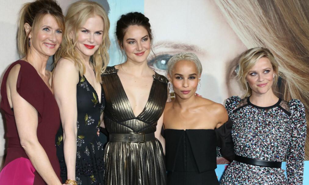 POPULÆR GJENG: «Big Little Lies»-skuespillerne (f. v.) Laura Dern, Nicole Kidman, Shailene Woodley, Zoe Kravitz og Reese Witherspoon under L.os Angeles-premieren på serien i februar i fjor. FOTO: NTB Scanpix