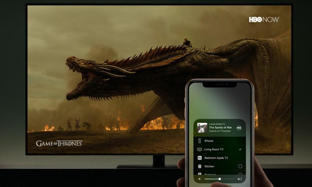RETT PÅ TV: Snart trenger du ikke å kjøpe en Apple TV-boks for å bruke Airplay på TV. Foto: Apple