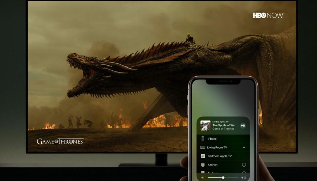 <strong>RETT PÅ TV:</strong> Snart trenger du ikke å kjøpe en Apple TV-boks for å bruke Airplay på TV. Foto: Apple