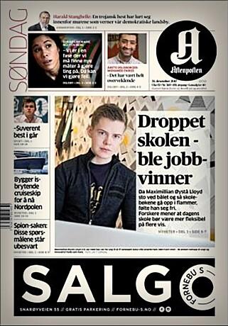 I 2017 prydet Maximilian Øystå Lloyd forsida til Aftenposten. Valget hans har vekt oppsikt. 📸: Aftenposten