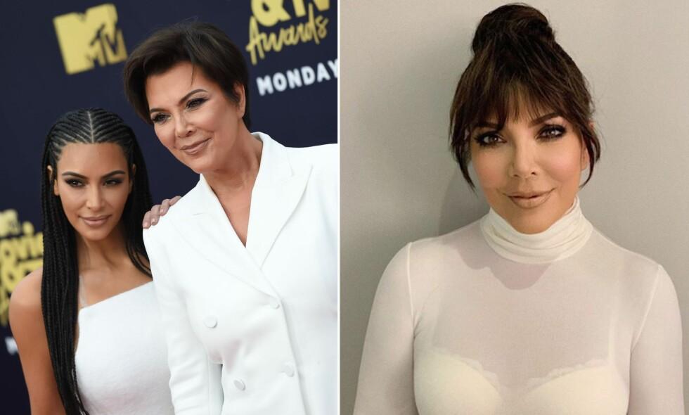 SOM TO DRÅPER VANN: Kris Jenner vekker oppsikt med ny frisyre. Fansen mener hun er slående lik datteren Kim Kardashian. Foto: NTB Scanpix, Instagram