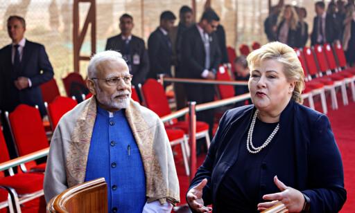 MØTTE MODI: Erna Solberg avsluttet tirsdag et offisielt besøk til India, der hun blant annet møtte sin statsministerkollega Narendra Modi. Foto: Nina Hansen