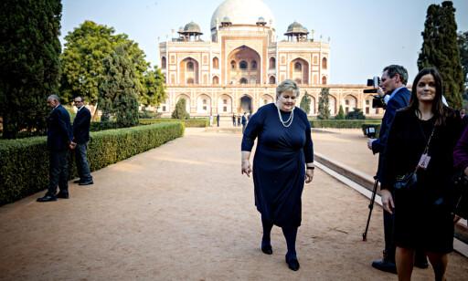 INDIA: Erna Solberg tok en pause fra regjeringsforhandlingene for å reise til India på offisielt besøk. Foto: Nina Hansen
