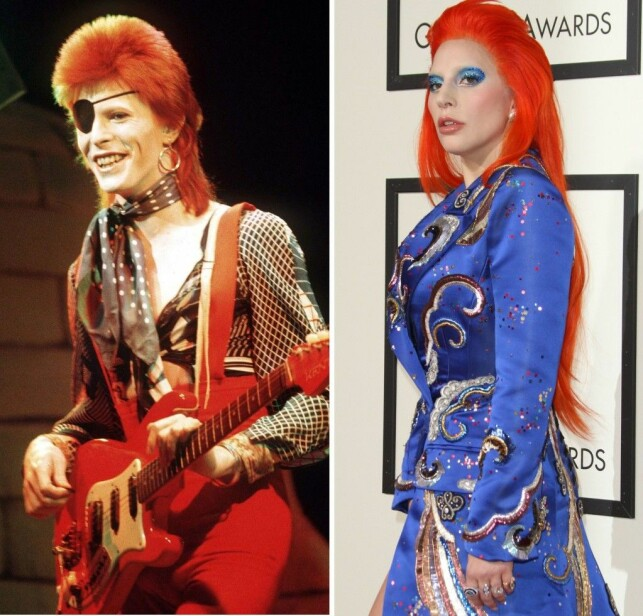 IDOL: David Bowie på scenen i 1973, og Lady Gaga under Grammy Awards i 2016, 43 år senere. Foto: NTB scanpix