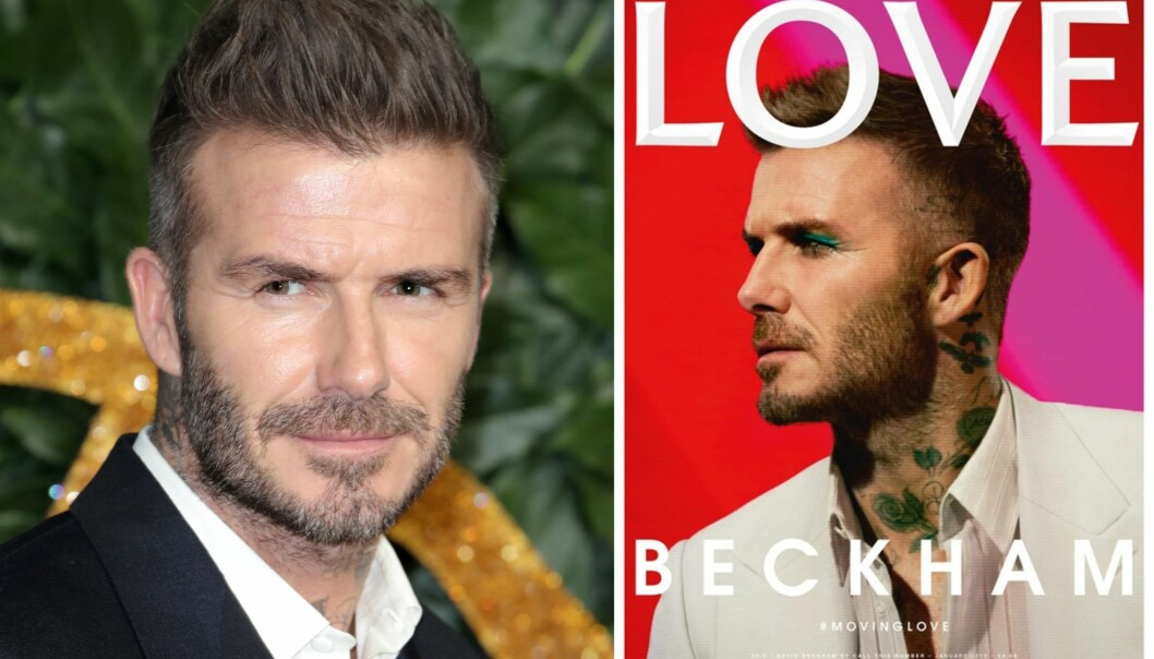 UVENTET «LOOK»: Den tidligere fotballspilleren David Beckham (43) får stor oppmerksomhet for denne magasinforsiden i Love Magazine. Foto: NTB Scanpix/ Faksimile fra Love Magazine