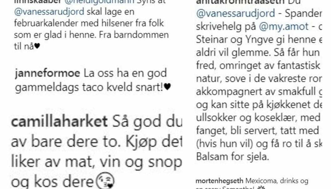 MASSIV STØTTE: Vanessa Rudjord mottok flere tips fra både kjendiser, familie og venner, til hva hun kan gjøre for venninnen sin Synnøve Skarbø som går gjennom et samlivsbrudd. Foto: Skjermdump, Instagram