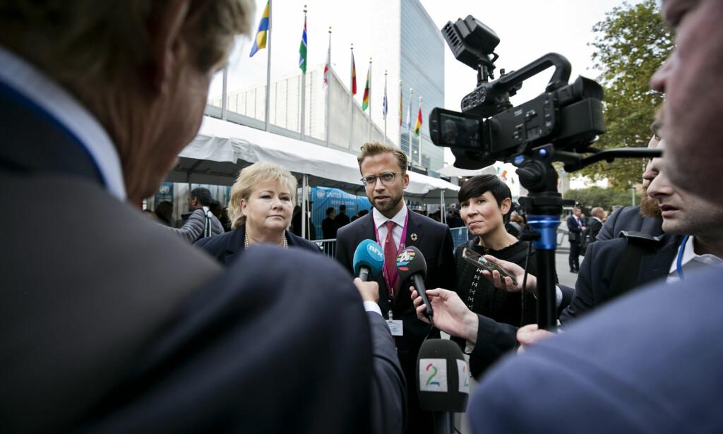 KVINNER MÅ DELTA: - Kvinner står ofte på sidelinja når fredsavtaler fremforhandles, både som fredsmeklere og i partenes delegasjoner. Fremdeles ivaretar få fredsavtaler kvinners rettigheter tilfredsstillende, skriver seks statsråder, inkludert Erna Solberg, Nikolai Astrup og Ine Eriksen Søreide (på bildet). Bildet er fra FNs generalforsamling i New York i høst. Foto: Pontus Höök / NTB Scanpix